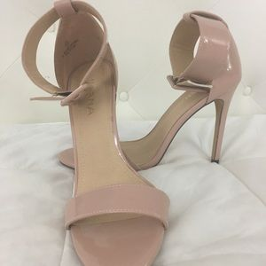 Lilliana soft pink ankle strap heels